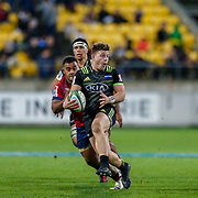 Ricky Riccitelli runs during the Super rugby union game (Round 14) played between Hurricanes v Reds, on 18 May 2018, at Westpac Stadium, Wellington, New  Zealand.    Hurricanes won 38-34.