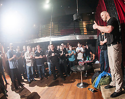 Tommy Blom at the end of the day. IKMS 'In The Club' seminar with KMG Global Team Instructor and Expert Level 5, Tommy Blom, at the Buff Club in Glasgow's City Centre. Bringing Krav Maga training out with the confines of the gym into a real nightclub/bar.<br /> © Michael Schofield.