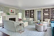 Stamford home, living room. Interior design by Jeffrey Kilmer Design.