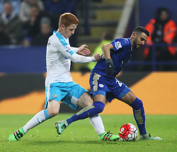 Jack Colback of Newcastle United (L) and Riyad Mahrez of Leicester City in action - Mandatory byline: Jack Phillips/JMP - 14/03/2016 - FOOTBALL - King Power Stadium - Leicester, England - Leicester City v Newcastle United - Barclays Premier League