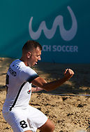 CATANIA, ITALY - AUGUST 16: Rasmus Munskind of Estonia celebrates after scoring his team's first goal during the Euro Beach Soccer League match between Moldova and Estonia on August 16, 2019 in Catania, Italy. (Photo by Quality Sport Images