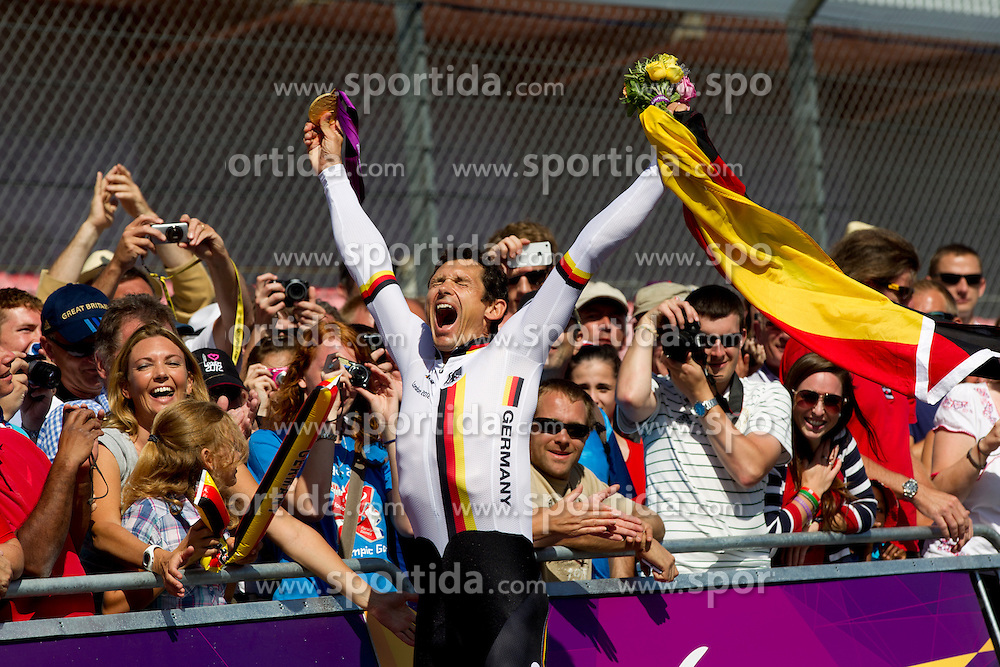 Winner Michael Teuber of Germany celebrates at medal ceremony after he competed during Men's Individual C 1 Time Trial during Day 8 of the Summer Paralympic Games London 2012 on September 5, 2012, in Brands Hatch circuit near London, Great Britain. (Photo by Vid Ponikvar / Sportida.com)