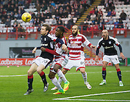 Dundee&rsquo;s Craig Wighton is closely watched by Hamilton&rsquo;s Lennard Sowah - Hamilton v Dundee in the Ladbrokes Scottish Premiership at Superseal stadium, Hamilton. Photo: David Young<br /> <br />  - &copy; David Young - www.davidyoungphoto.co.uk - email: davidyoungphoto@gmail.com