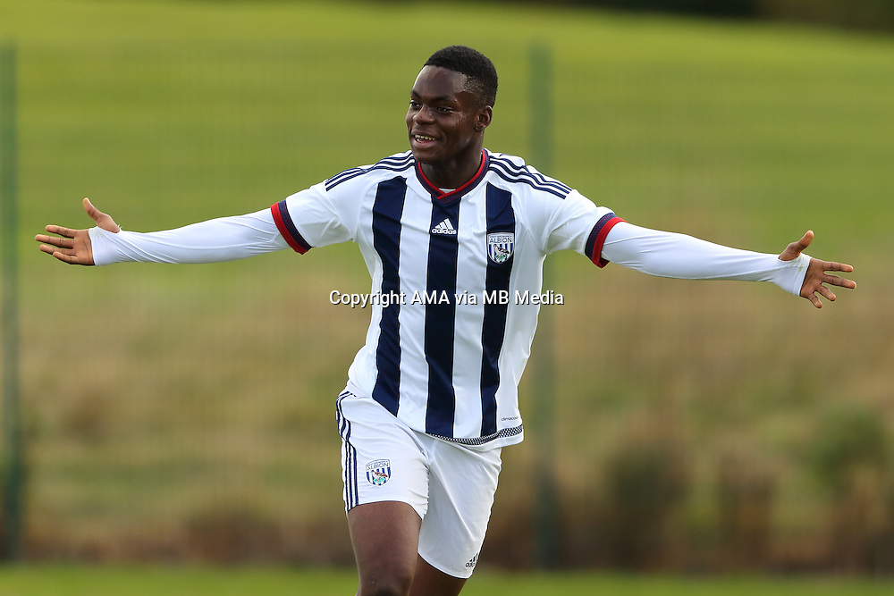 Jonathan Leko of West Bromwich Albion U18 celebrates after scoring a goal to make it 1-0