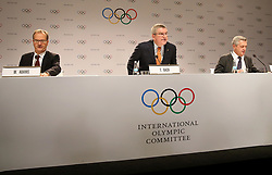 LIMA, Sept. 16, 2017  International Olympic Committee (IOC) President Thomas Bach (C) attends a press conference after the 131st IOC session in Lima, Peru, on Sept. 15, 2017. The 131st IOC session concluded on Friday. (Credit Image: © Li Ming/Xinhua via ZUMA Wire)