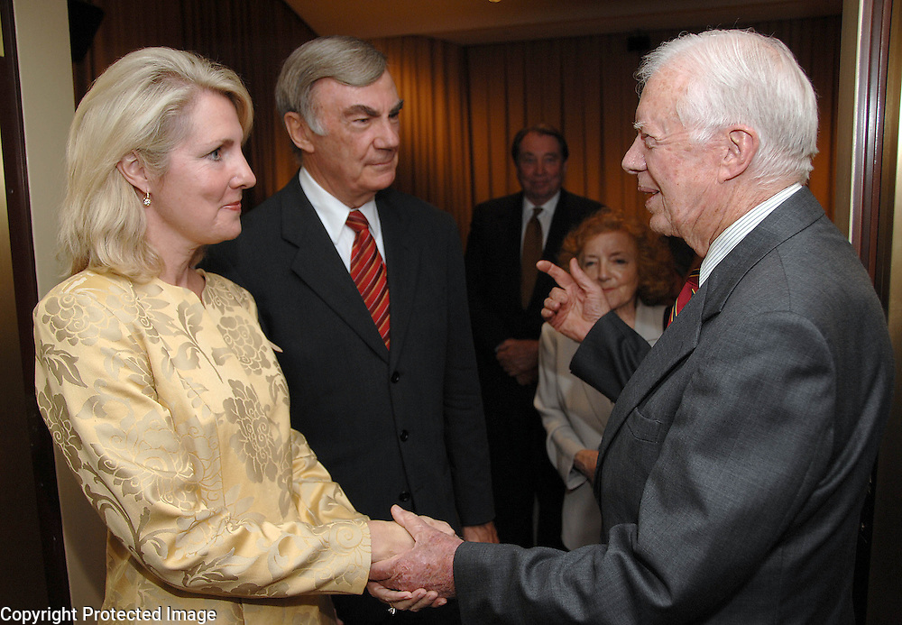 """President Jimmy Carter greets Sam Donaldson and his wife Jan Fox at an advance screening of the film :Jimmy Carter Man From Plains"""" in Washington, DC on October 23, 2007.  The film was directed by award winning director Jonathan Demme and is based on the life of Jimmy Carter."""