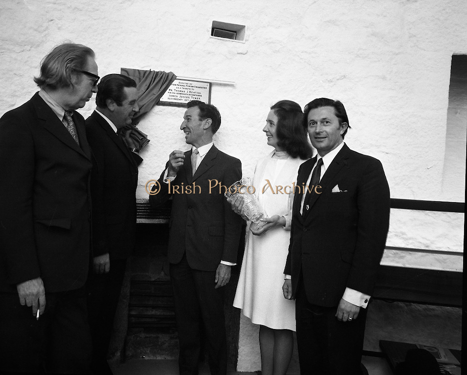 "Bloomsday at Joyce Tower,Sandycove..1972..16.06.1972..06.16.1972..16th June 1972..As part of the Bloomsday celebrations,Joyce Tower,Sandycove was renovated and opened to the public.The tower is an important part of the novel ""Ulysses"" written by James Joyce.The celebration in part is organised by the Eastern Regional Tourism Organisation..Photographed at the unveiling of the plaque were, professor Kevin Sullivan,Columbia university,Mr P J Power,Chairman,ETRC, Mr & Mrs Thomas Keating ,Manager,ERTC."
