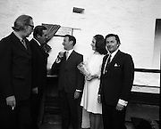 """Bloomsday at Joyce Tower,Sandycove..1972..16.06.1972..06.16.1972..16th June 1972..As part of the Bloomsday celebrations,Joyce Tower,Sandycove was renovated and opened to the public.The tower is an important part of the novel """"Ulysses"""" written by James Joyce.The celebration in part is organised by the Eastern Regional Tourism Organisation..Photographed at the unveiling of the plaque were, professor Kevin Sullivan,Columbia university,Mr P J Power,Chairman,ETRC, Mr & Mrs Thomas Keating ,Manager,ERTC."""