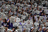 Jan 30, 2008; Manhattan, KS, USA; Kansas State Wildcat fans hold up copies of the university paper during the introductions of the Kansas Jayhawks before the game against Kansas State at Bramlage Coliseum in Manhattan, KS. Kansas State upset the 2nd ranked Kansas Jayhawks 84-75. Mandatory Credit: Peter G. Aiken-US PRESSWIRE