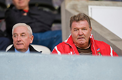 SWANSEA, ENGLAND - Friday, September 4, 2009: Wales' manager John Toshack and assistant coach Roy Evans watch the UEFA Under 21 Championship Qualifying Group 3 match between Wales and Italy at the Liberty Stadium. (Photo by David Rawcliffe/Propaganda)