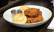 Crispy Fried Brady Chicken awaits a patron during brunch at Pub & Kitchen Sunday, February 04, 2018 in Philadelphia, Pennsylvania. The pub added Bleeding Green Bloody Marys and Crispy Fried Brady Chicken to the menu. WILLIAM THOMAS CAIN / For The Inquirer