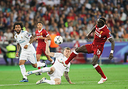 Toni Kroos of Real Madrid vs Sadio Mané of Liverpool during the UEFA Champions League final football match between Liverpool and Real Madrid at the Olympic Stadium in Kiev, Ukraine on May 26, 2018. Photo by Andriy Yurchak / Sportida
