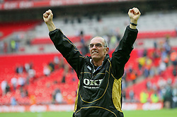LONDON, ENGLAND - Saturday, May 17, 2008: Portsmouth's assistant Joe Jordan celebrates winning the FA Cup after beating Cardiff City during the FA Cup Final at Wembley Stadium. (Photo by Chris Ratcliffe/Propaganda)