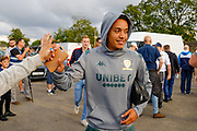 Leeds United midfielder Helda Costa (17) high fives a fan  during the Pre-Season Friendly match between Guiseley  and Leeds United at Nethermoor Park, Guiseley, United Kingdom on 11 July 2019.