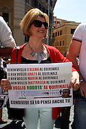 Roma 18 Aprile 2013.Proteste davanti a Montecitorio  per la candidatura di Franco Marini alla Presidenza della Repubblica da parte del Partito Democratico. Manifestanti in favore di Stefano Rodotà