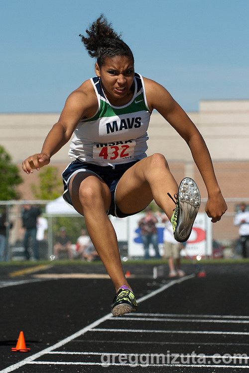Mountain View junior Josie Lawrence competes in the long jump during the 5A Idaho Track and Field Championships on May 19, 2012 at Rocky Mountain High School, Meridian, Idaho. Lawrence finished sixth with a jump of 16-04.