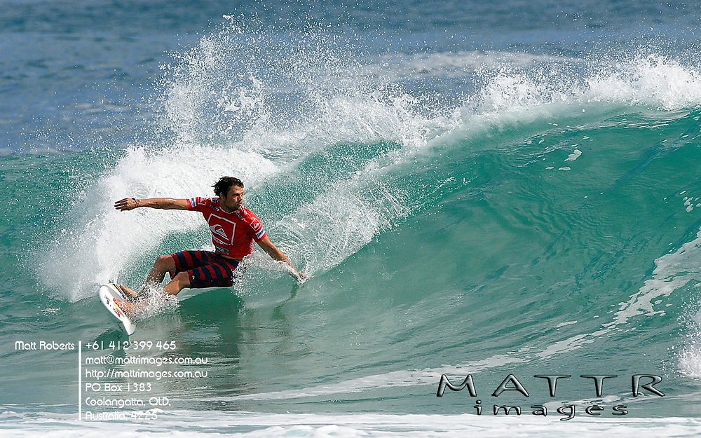 Gold Coast, Australia - February 27: Dane Reynolds went down to Brett Simpson(USA) during round 1 of the Quiksilver Pro Gold Coast 2010 presented by Land Rover at Snapper Rocks on the Gold Coast, February 27, 2010 Photo by Matt Roberts/MATTRimages.com.au