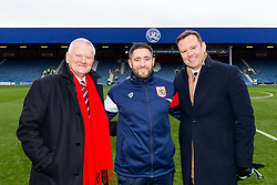 Bristol City owner Steve Lansdown CBE, Head Coach Lee Johnson and CEO Mark Ashton pose for a photo on the pitch at QPR before the game - Rogan/JMP - 23/12/2017 - Loftus Road - London, England - Queens Park Rangers v Bristol City - Sky Bet Championship.