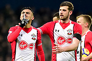Southampton defender Jack Stephens (5) attempts to calm down Southampton midfielder Sofiane Boufal (19) as he gestures at the Saints fans during the Premier League match between West Bromwich Albion and Southampton at The Hawthorns, West Bromwich, England on 3 February 2018. Picture by Dennis Goodwin.