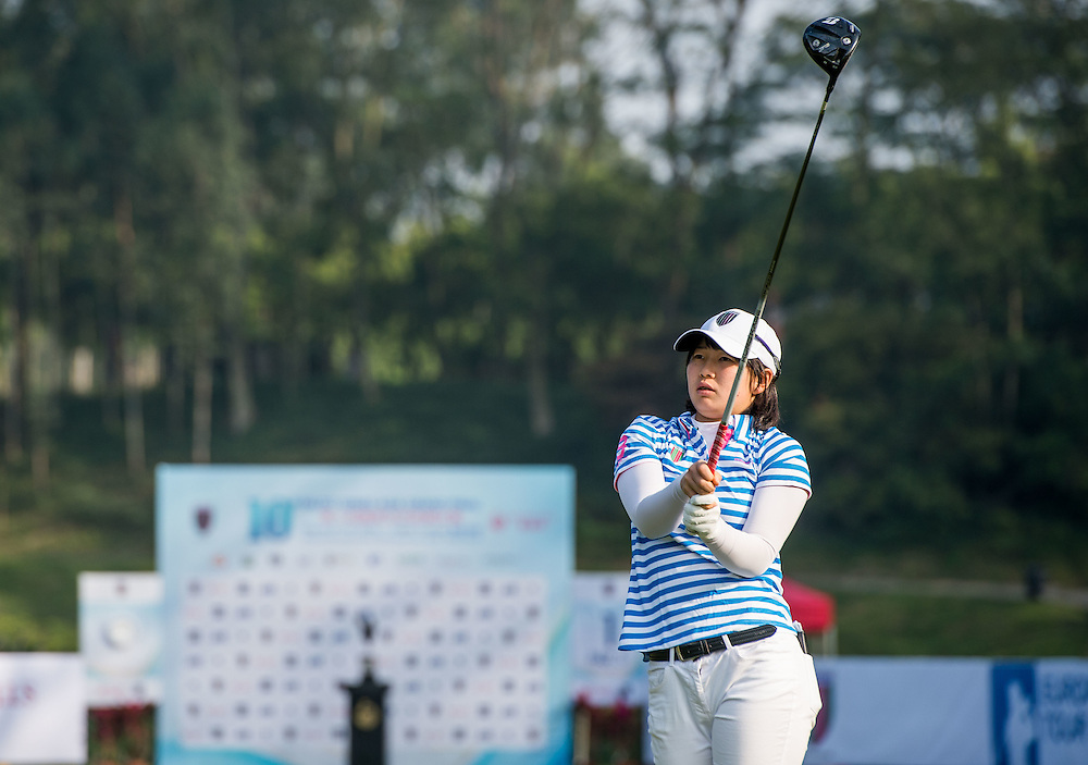 Minami Hiruta of Japan in action during day one of the 10th Faldo Series Asia Grand Final at Faldo course in Shenzhen, China. Photo by Xaume Olleros.