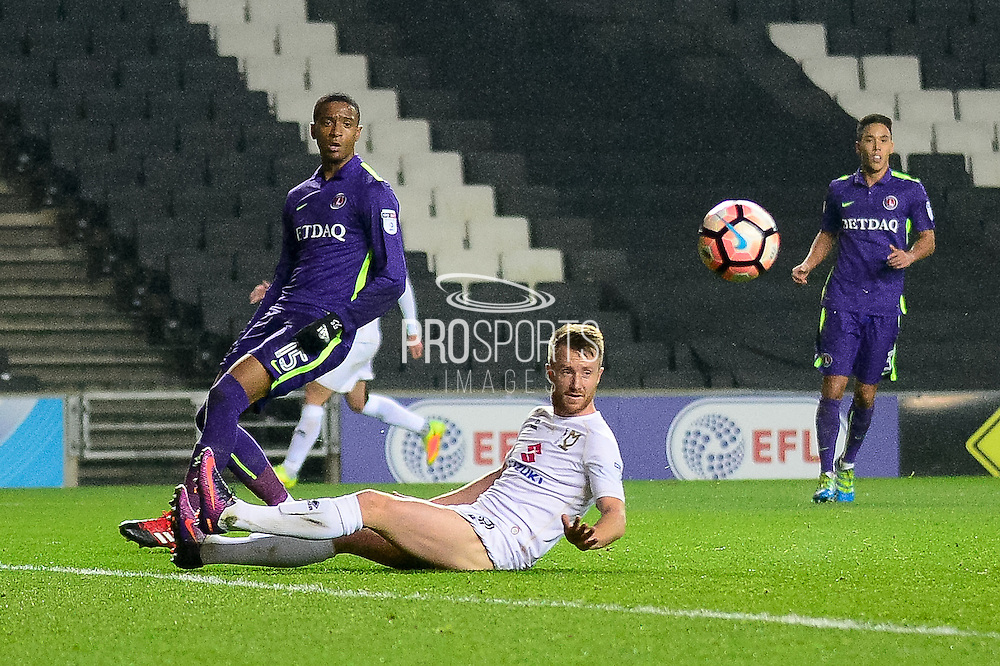 Milton Keynes Dons striker Dean Bowditch (9) sees his effort wide during the The FA Cup 2nd round replay match between Milton Keynes Dons and Charlton Athletic at stadium:mk, Milton Keynes, England on 13 December 2016. Photo by Dennis Goodwin.