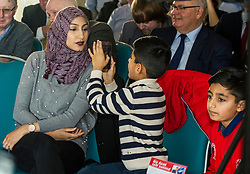 Pictured: Mr Sarwar's wife, Furheen and his two boys Seffi and Adam were there to support Anas Sarwar<br /> The Scottish Labour leadership candidate Anas Sarwar presented his vision for Scotland's future today in Edinburgh.<br /> <br /> Ger Harley | EEm 25 October 2017