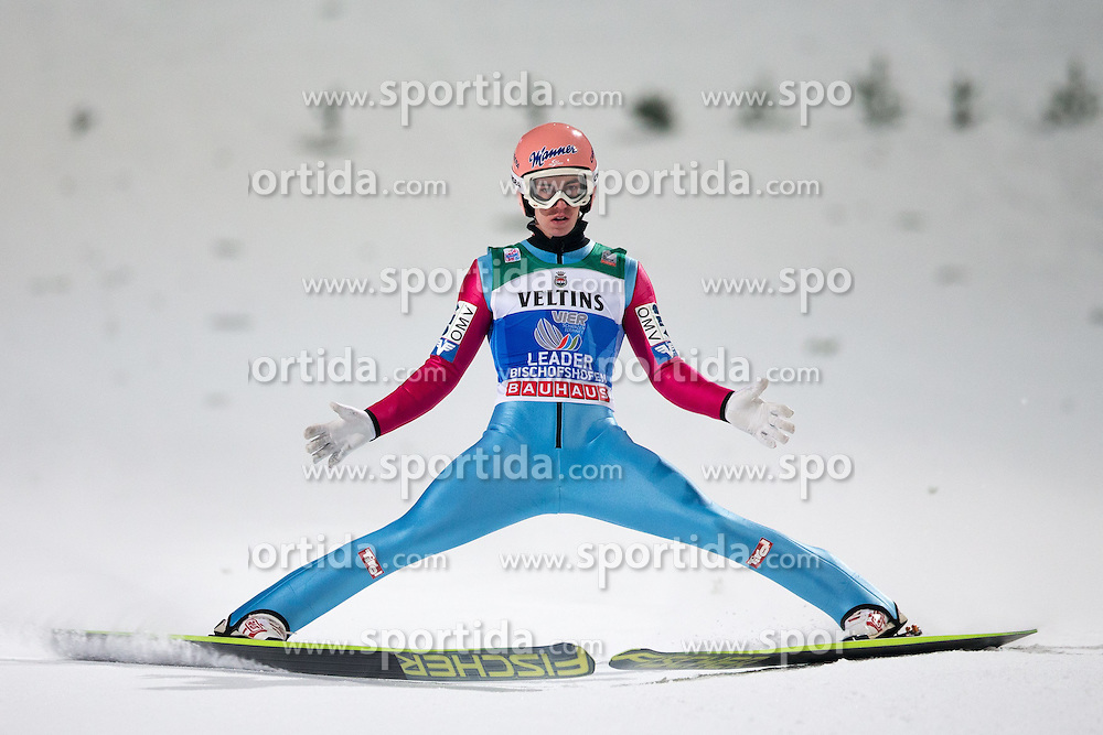 06.01.2015, Paul Ausserleitner Schanze, Bischofshofen, AUT, FIS Ski Sprung Weltcup, 63. Vierschanzentournee, Finale, im Bild Stefan Kraft (AUT) // Stefan Kraft of Austria reacts after his first competition Jump of 63rd Four Hills Tournament of FIS Ski Jumping World Cup at the Paul Ausserleitner Schanze, Bischofshofen, Austria on 2015/01/06. EXPA Pictures © 2015, PhotoCredit: EXPA/ Johann Groder