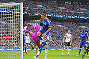 Chelsea's John Terry battles with Goalkeeper Hugo Lloris of Tottenham Hotspur  during the Capital One Cup Final between Chelsea and Tottenham Hotspur at Wembley Stadium, London, England on 1 March 2015. Photo by Phil Duncan.