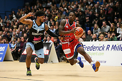 Jalan McCloud of Bristol Flyers drives with the ball - Photo mandatory by-line: Arron Gent/JMP - 28/04/2019 - BASKETBALL - Surrey Sports Park - Guildford, England - Surrey Scorchers v Bristol Flyers - British Basketball League Championship
