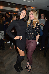 Left to right, LUCY VERASAMY and DONNA IDA at a party hosted by Donna Ida to celebrate 'A Decade in Denim' held at The hari Hotel, 20 Chesham Place, London on 11th October 2016.