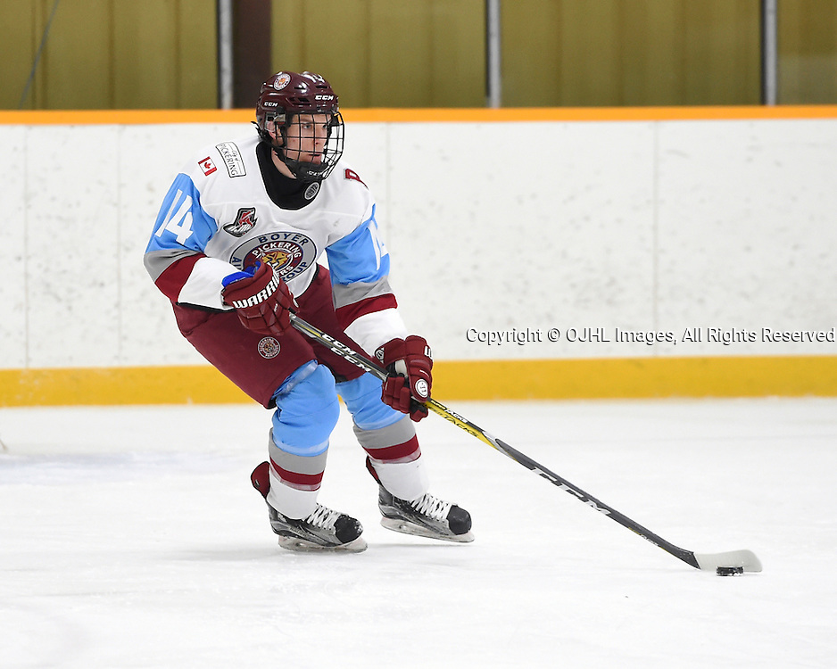 TRENTON, ON - JAN 24,  2017: Ontario Junior Hockey League game between Lindsay and Pickering at the 2017 Winter Showcase , Matt Hunter #14 of the Pickering Panthers skates with the puck during the first period.<br /> (Photo by Andy Corneau / OJHL Images)