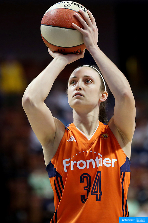 UNCASVILLE, CONNECTICUT- JUNE 3:  Kelly Faris #34 of the Connecticut Sun shoots a free throw during the Atlanta Dream Vs Connecticut Sun, WNBA regular season game at Mohegan Sun Arena on June 3, 2016 in Uncasville, Connecticut. (Photo by Tim Clayton/Corbis via Getty Images)