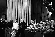 The State Funeral of Sir Alfred Chester Beatty at St. Patrick's Cathedral, Dublin. President Eamon de Valera, An Taoiseach Jack Lynch and Minister for External Affairs, Frank Aiken, inside the Cathedral..29.01.1968
