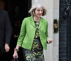 JUL 08 2014 Theresa May leaves No10 after cabinet meeting