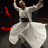 VENICE, ITALY - JUNE 21:  A whirling Dervish of the Galata Mevlevi Ensemble,declared UNESCO World Heritag, perfoms under the guidance of Sheikh Nail Kesova at Auditorium Candiani on June 21, 2011 in Venice, Italy. The whirling dance associated with Dervishes, is the practice of the Mevlevi Order in Turkey, and is part of a formal ceremony known as the Sema which is only one of the many Sufi ceremonies performed to try to reach religious ecstasy