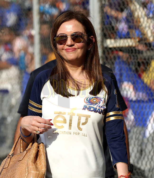 Nita Ambani owner of Mumbai Indians  during match 46 of the Pepsi IPL 2015 (Indian Premier League) between The Mumbai Indians and The Royal Challengers Bangalore held at the Wankhede Stadium in Mumbai, India on the 10th May 2015.<br /> <br /> Photo by:  Sandeep Shetty / SPORTZPICS / IPL