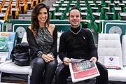 DESCRIZIONE : Campionato 2014/15 Serie A Beko Dinamo Banco di Sardegna Sassari - Acqua Vitasnella Cantu'<br /> GIOCATORE : Francesca Rossi Roberto Stella<br /> CATEGORIA : Madrina Tifosi Pubblico Spettatori<br /> SQUADRA : Dinamo Banco di Sardegna Sassari<br /> EVENTO : LegaBasket Serie A Beko 2014/2015<br /> GARA : Dinamo Banco di Sardegna Sassari - Acqua Vitasnella Cantu'<br /> DATA : 28/02/2015<br /> SPORT : Pallacanestro <br /> AUTORE : Agenzia Ciamillo-Castoria/L.Canu<br /> Galleria : LegaBasket Serie A Beko 2014/2015