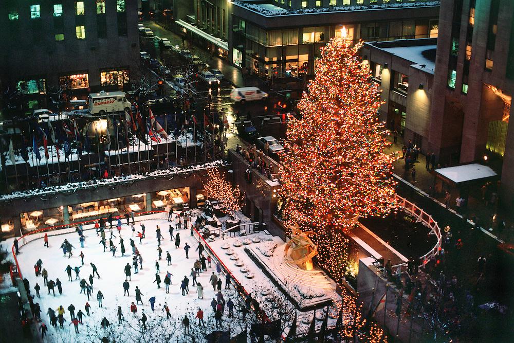 New York City, New York Rockefeller Center, Christmas Tree dusk, Ice Skating Rink