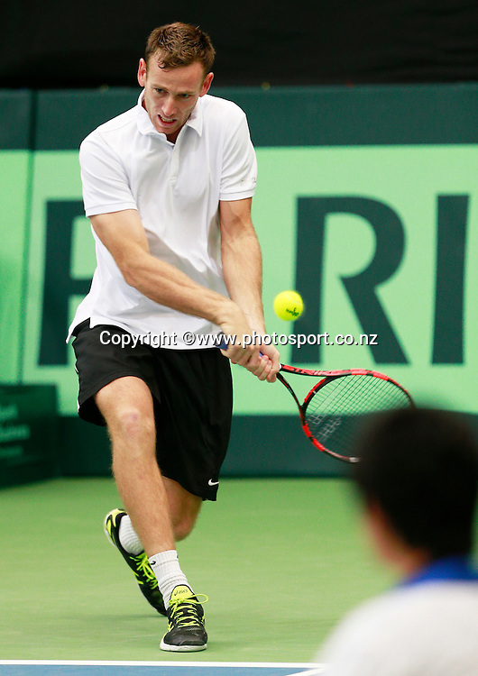 Michael Venus of New Zealand during his game against Chieh-Fu Wang of Chinese Taipei in the Davis Cup Tennis tie between New Zealand and Chinese Taipei played at Wilding Park, Christchurch. 24 October 2014 Photo: Joseph Johnson/www.photosport.co.nz