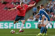 Jon Parkin (York City) shoots and a deflection beats the keeper, however, Aidan Connolly (York City) puts the ball over the line 3-2 to York in the final moments of the game during the FA Trophy match between Macclesfield Town and York City at Wembley Stadium, London, England on 21 May 2017. Photo by Mark P Doherty.