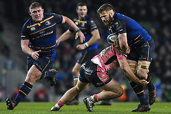 December 16, 2017 - Dublin, Ireland - Sean O'Brien of Leinster team in action challenged by Sam Simmonds of Exeter Chiefs during the European Rugby Champions Cup rugby match at Aviva Stadium...On Saturday, 16 December 2017, in Dublin, Ireland. (Credit Image: © Artur Widak/NurPhoto via ZUMA Press)
