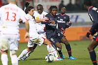 FOOTBALL - FRENCH CHAMPIONSHIP 2009/2010 - L1 - AS NANCY v PARIS SAINT GERMAIN - 13/02/2010 - PHOTO ERIC BRETAGNON / DPPI - PEGUY LUYINDULA (PSG) / PASCAL BERENGUER (ASNL)