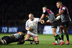 Matt Faddes of Ulster takes on the Harlequins defence - Mandatory byline: Patrick Khachfe/JMP - 07966 386802 - 13/12/2019 - RUGBY UNION - The Twickenham Stoop - London, England - Harlequins v Ulster Rugby - Heineken Champions Cup