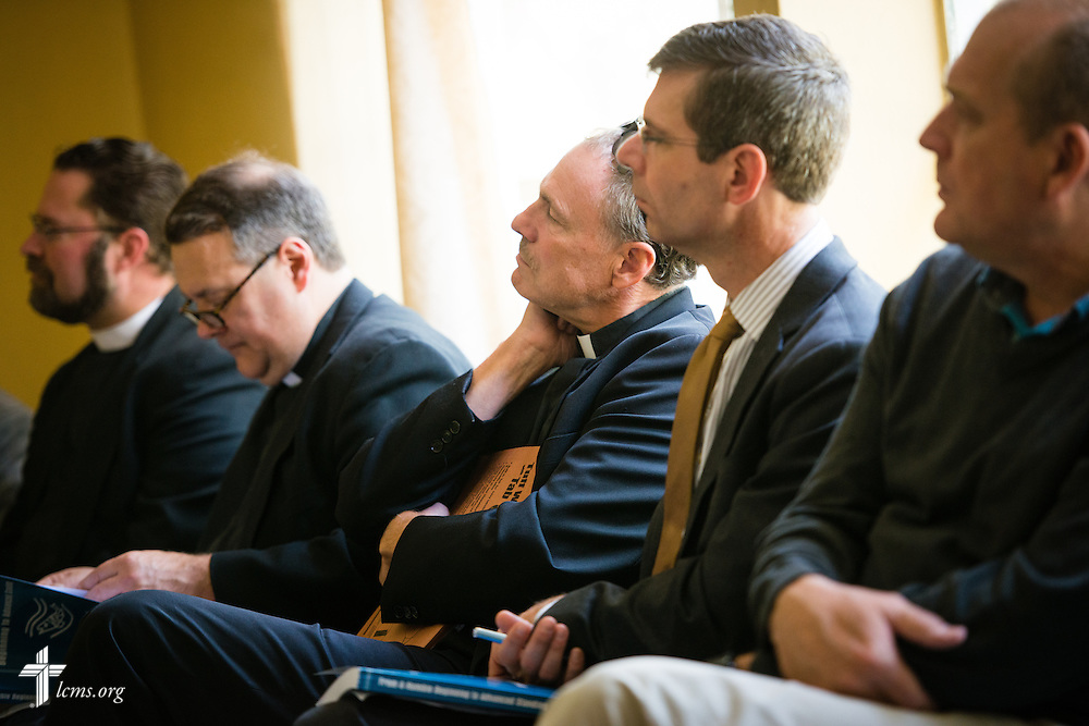 Dr. Joel D. Lehenbauer, executive director of the Commission on Theology and Church Relations, listens to a presentation at Mekane Yesus Seminary on Monday, Nov. 10, 2014 in Addis Ababa, Ethiopia. LCMS Communications/Erik M. Lunsford