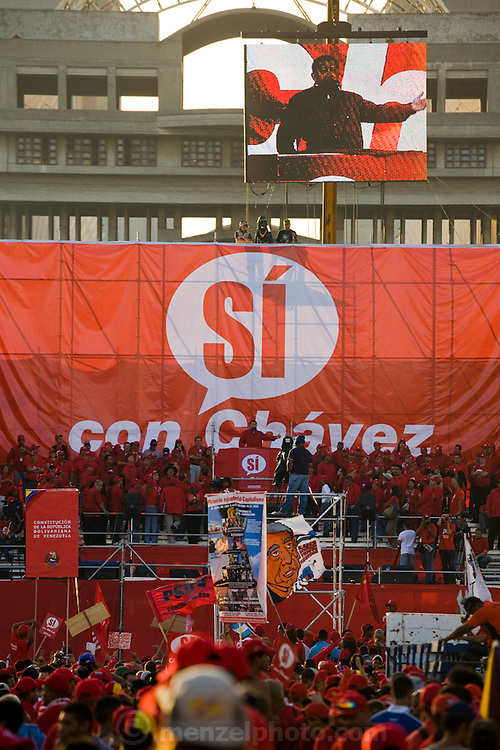 President of Venezuela, Hugo Chavez, addresses crowds at a demonstration in favor of proposed constitutional reforms giving him more power in Caracas, Venezuela in November 2007.