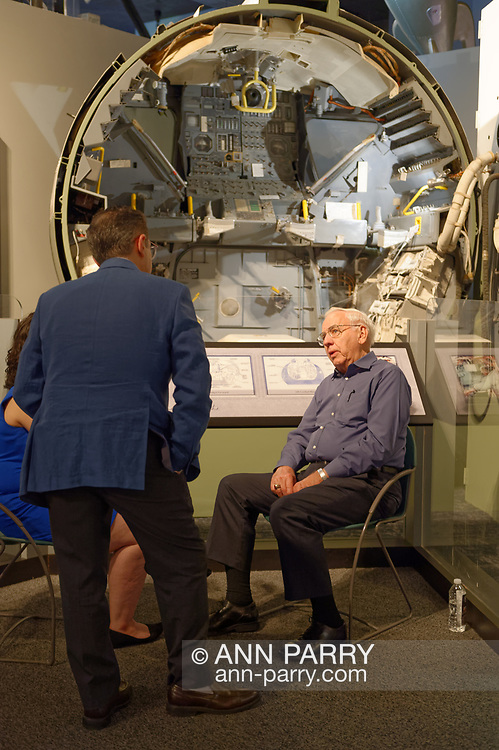 Garden City, New York, U.S. June 6, 2019. MILTON WINDLER, Apollo Flight Director, is interviewed in front of Lunar Module interior display during Cradle of Aviation Museum's Apollo Astronauts Press Conference during its day of events celebrating 50th Anniversary of Apollo 11.