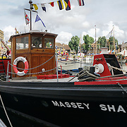 London, England, UK. 8th September 2017. Richard E. Beet is a Skipper of Massey Shaw Fireboat. The Massey Shaw Fireboat have saved over 600 soldiers Battle of Dunkirk in 1940 restore to 90% of it original proudly display at The 9th year of Classic Boat Festival at St. Katharine Docks, London, UK.