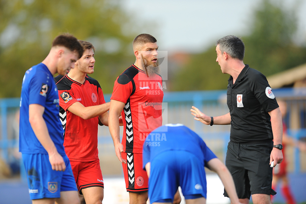 TELFORD COPYRIGHT MIKE SHERIDAN 20/10/2018 - RED CARD. John McAtee and Shane Sutton of AFC Telford remonstrate with the referee after McAtee is shown a straight red for an off the ball incident with Cameron Mason of Curzon during the Vanarama Conference North fixture between Curzon Ashton and AFC Telford United at the Tameside Stadium.