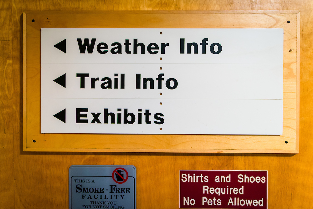 Signs in the Joe Dodge base lodge of Mount Washington