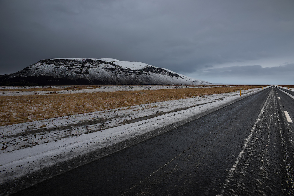 Deserted road in Central Iceland during the winter, Iceland.